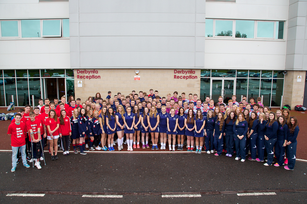 Gower College Swansea Sports Academy students at the Liberty Stadium in Swansea
