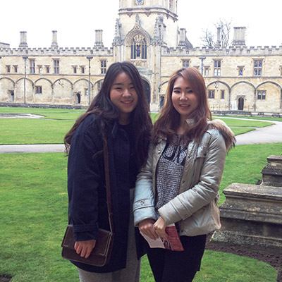 Sydney & Hailey (South Korea) at Christ Church, Oxford - Feb 2018