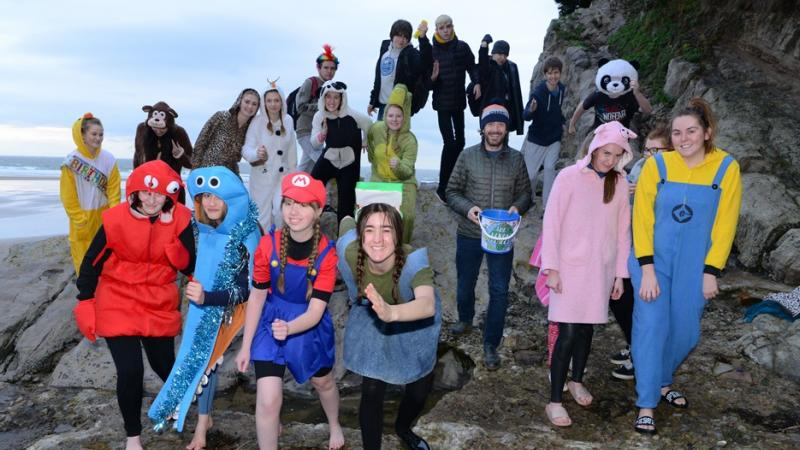A splash in the sea for charity - students take a walrus dip